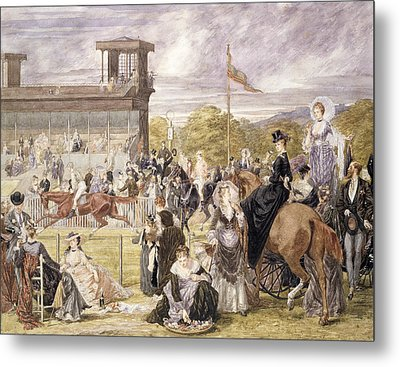 The Races At Longchamp In 1874 Metal Print by Pierre Gavarni