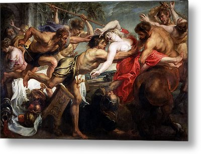 The Rape Of Hippodamia Metal Print by Peter Paul Rubens and Workshop