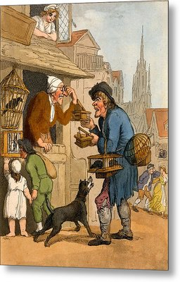 The Rat Trap Seller From Cries Metal Print by Thomas Rowlandson