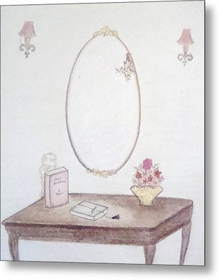 The Reading Table Metal Print by Christine Corretti