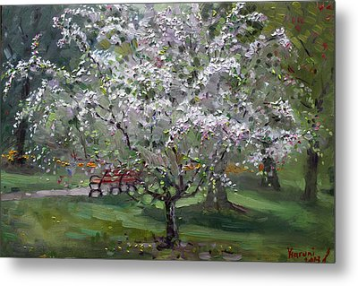 The Red Bench Metal Print by Ylli Haruni