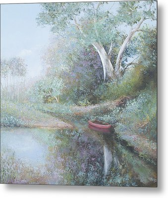 The Red Canoe Metal Print by Jan Matson