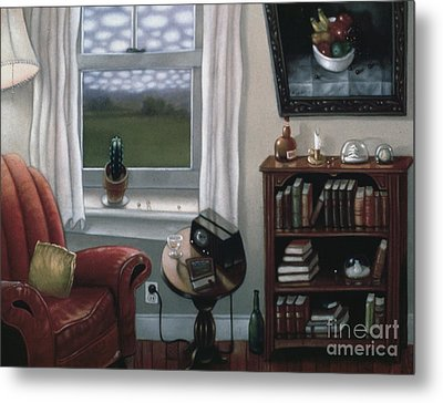 The Red Chair 1997 Metal Print by Larry Preston