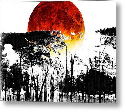 The Red Moon - Landscape Art By Sharon Cummings Metal Print by Sharon Cummings