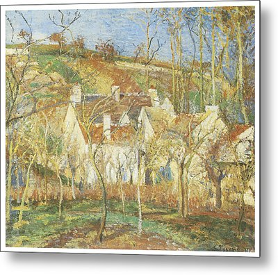 The Red Roofs Corner Of A Village Winter Metal Print by Camille Pissarro