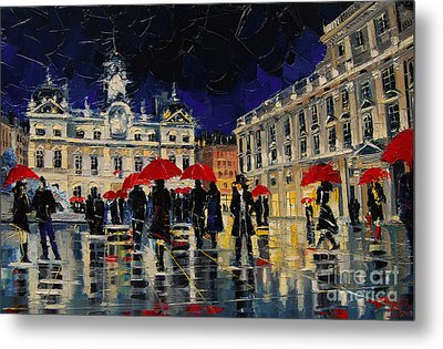 The Rendezvous Of Terreaux Square In Lyon Metal Print by Mona Edulesco