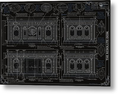 The Resolute Desk Blueprints- Black/white Line Metal Print by Kenneth Perez