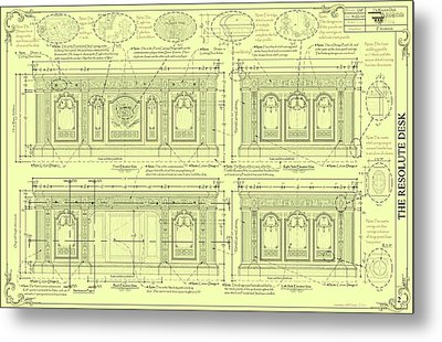 The Resolute Desk Blueprints - Soft Yellow Metal Print by Kenneth Perez