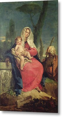 The Rest On The Flight Into Egypt Oil On Canvas Metal Print by Giovanni Battista Tiepolo