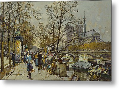 The Rive Gauche Paris With Notre Dame Beyond Metal Print by Eugene Galien-Laloue