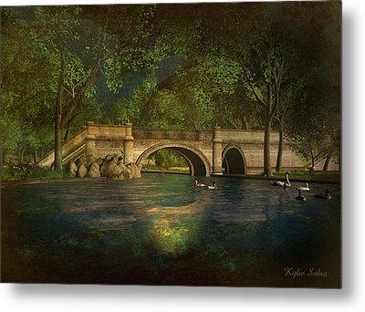 The Rose Pond Bridge 06301302 - By Kylie Sabra Metal Print by Kylie Sabra