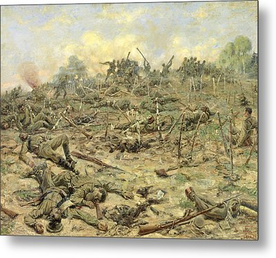 The Russian Infantry Attacking The German Entrenchments Metal Print by Pyotr Pavlovich Karyagin