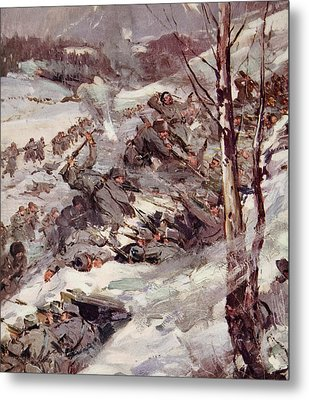 The Russians Fighting Their Way Over The Carpathians Metal Print by Cyrus Cuneo