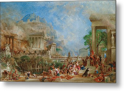 The Sack Of Corinth Metal Print by Thomas Allom