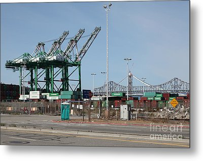 The San Francisco Oakland Bay Bridge Through The Port Of Oakland 5d22250 Metal Print by Wingsdomain Art and Photography