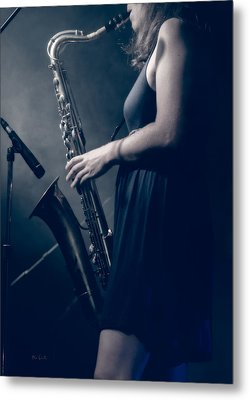 The Saxophonist Sounds In The Night Metal Print by Bob Orsillo