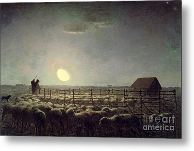 The Sheepfold   Moonlight Metal Print by Jean Francois Millet