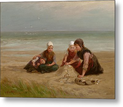 The Shell-gatherers Metal Print by Edith Hume