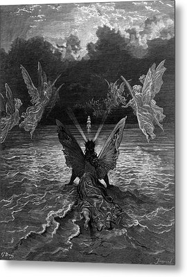 The Ship Continues To Sail Miraculously Moved By A Troupe Of Angelic Spirits Metal Print by Gustave Dore