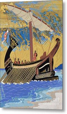 The Ship Of Odysseus Metal Print by Francois-Louis Schmied