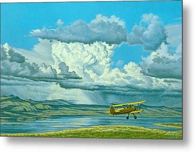 The Sky-stearman Biplane Metal Print by Paul Krapf