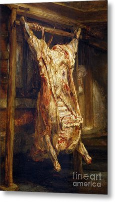The Slaughtered Ox Metal Print by Rembrandt Harmenszoon van Rijn