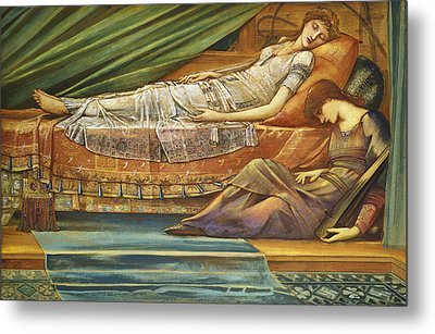 The Sleeping Princess Metal Print by Sir Edward Burne-Jones