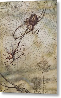 The Spider And The Fly Metal Print by Arthur Rackham