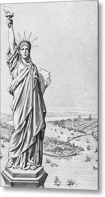 The Statue Of Liberty New York Metal Print by American School