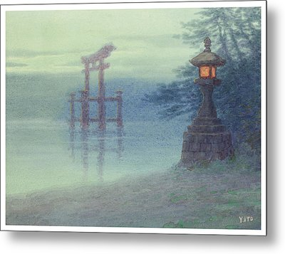 The Stone Lantern Cira 1880 Metal Print by Aged Pixel
