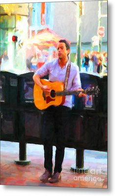The Street Performer On Market Street - 5d20725 Metal Print by Wingsdomain Art and Photography