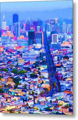 The Streets Of San Francisco 5d28040 Vertical Metal Print by Wingsdomain Art and Photography