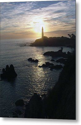 The Sun Is Setting Behind The Pigeon Point Light Station Near Ano Nuevo Metal Print by Scott Lenhart