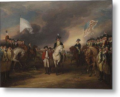 The Surrender Of Lord Cornwallis At Yorktown, October 19, 1781, 1787-c.1828 Oil On Canvas Metal Print by John Trumbull