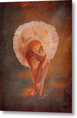 The Swan Warming Up Metal Print by Angela A Stanton