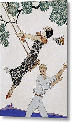 The Swing Metal Print by Georges Barbier