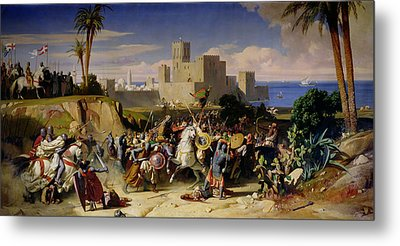 The Taking Of Beirut By The Crusaders Metal Print by Alexandre Jean Baptiste Hesse