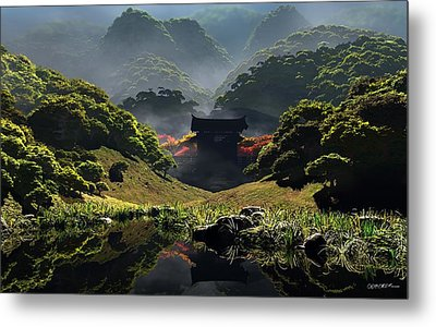 The Temple Of Perpetual Autumn Metal Print by Cynthia Decker
