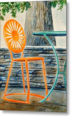 The Terrace Chair Metal Print by Thomas Kuchenbecker
