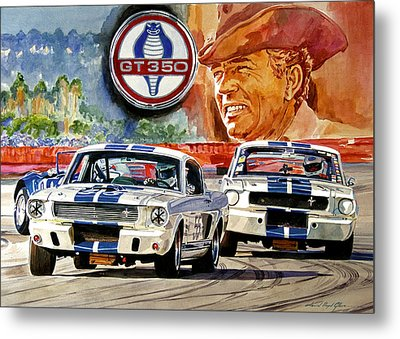 The Thundering Blue Stripe Gt-350 Metal Print by David Lloyd Glover