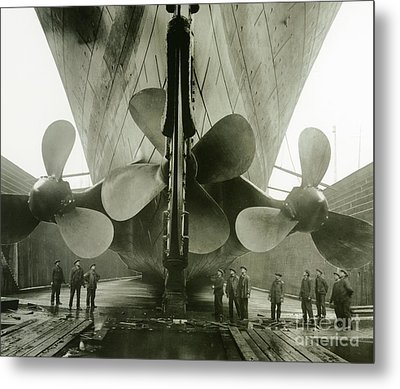 The Titanics Propellers In The Thompson Graving Dock Of Harland And Wolff Metal Print by English Photographer