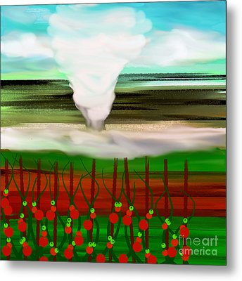 The Tomatoes And The Tornado Metal Print by Andee Design