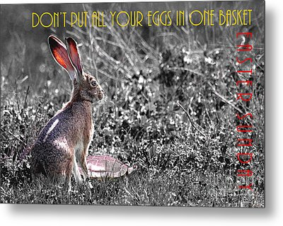 The Tortoise And The Hare Dont Put All Your Eggs In One Basket Easter Sunday 40d12379 Bw Metal Print by Wingsdomain Art and Photography