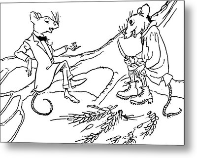 The Town Mouse And The Country Mouse Metal Print by Arthur Rackham