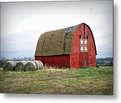 The Trails Quilt Barn Metal Print by Cricket Hackmann