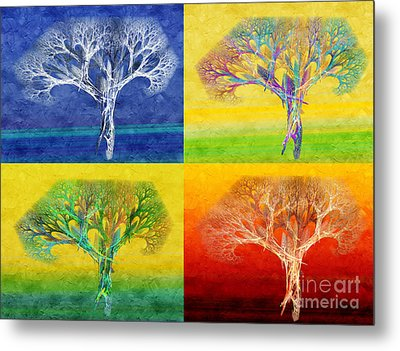 The Tree 4 Seasons - Painterly - Abstract - Fractal Art Metal Print by Andee Design