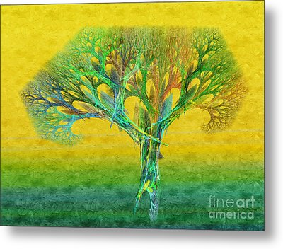The Tree In Summer At Sunrise - Painterly - Abstract - Fractal Art Metal Print by Andee Design