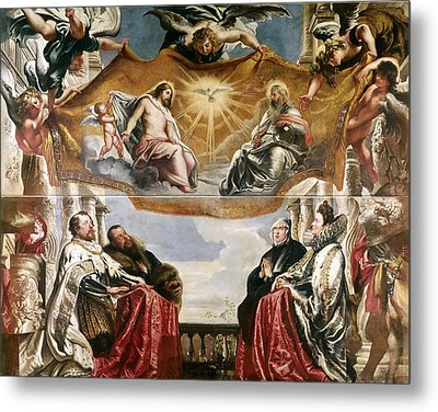 The Trinity Adored By The Duke Of Mantua And His Family Metal Print by Peter Paul Rubens