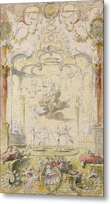 The Triumph Of Love Ink & Wc On Paper Metal Print by Claude Gillot