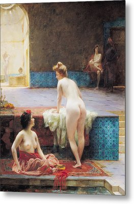 The Turkish Bath, 1896 Oil On Canvas Metal Print by Serkis Diranian